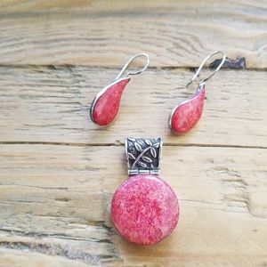 .925 Silver & Sponge Coral Pendant & Earrings